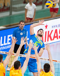 Mitja Gasparini #6 of Slovenia during volleyball match between National Teams of Slovenia and FRY Macedonia of 2014 CEV Volleyball European League Man - Pool B, on July 5, 2014, in Arena Ljudski vrt Lukna, Maribor, Slovenia, Slovenia. Photo by Urban Urbanc / Sportida