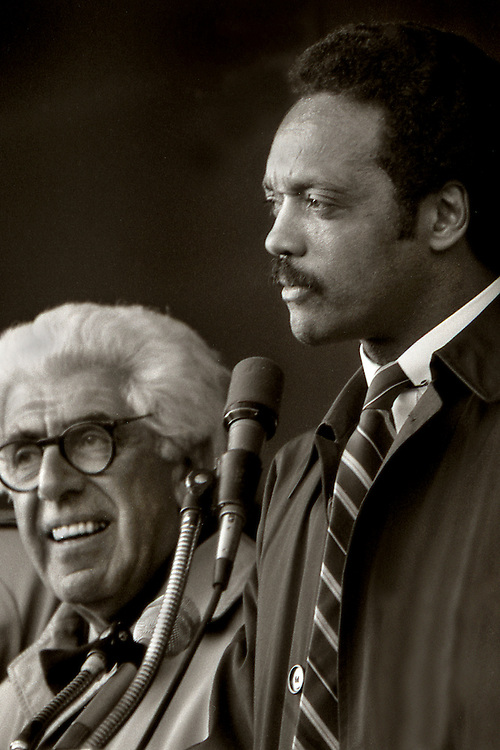 "From the ""Jesse Jackson Harlem Rally"" in 1984. Jesse was running for president. Beside him is Barry Commoner."
