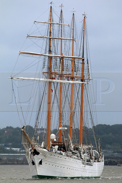 © Licensed to London News Pictures. 26/08/2015.  Sail training ship Esmerelda at Greenhithe as she arrives in the capital for a port visit. The Chilean navy vessel is over 100 metres long and has four masts.  A number of tall ships have arrived in London today in rainy weather including the Chilean navy's four masted sail training ship Esmerelda. Other ships are heading to south east London for a tall ships event which is part of the Mayor of London's Totally Thames festival. Credit : Rob Powell/LNP