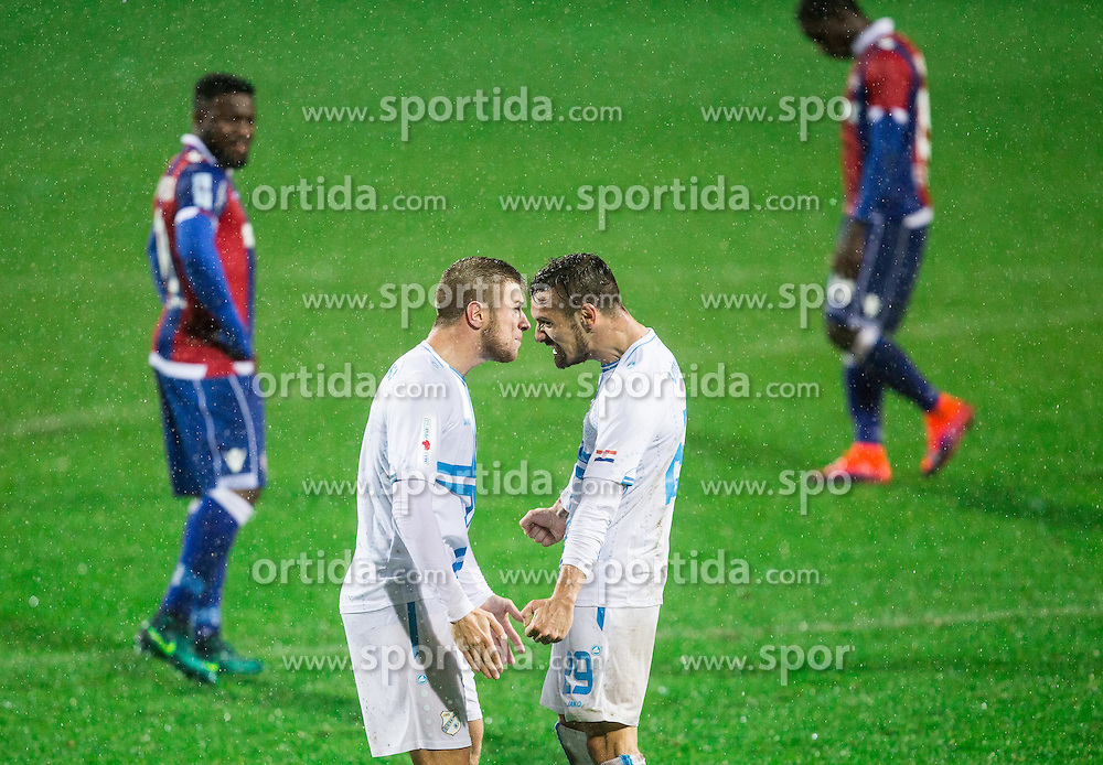 Stefan Ristovski of HNK Rijeka and Marko Vesovic of HNK Rijeka celebrate after Josip Elez of HNK Rijeka scored second goal for Rijeka during football match between HNK Rijeka and HNK Hajduk Split in Round #15 of 1st HNL League 2016/17, on November 5, 2016 in Rujevica stadium, Rijeka, Croatia. Photo by Vid Ponikvar / Sportida