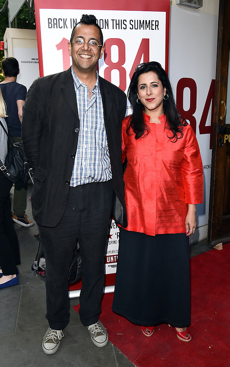 Anita Anand & Simon Singh attend 1984 Play press night at The Playhouse, Norththumberland Avenue, London on Thursday 18 June 2015