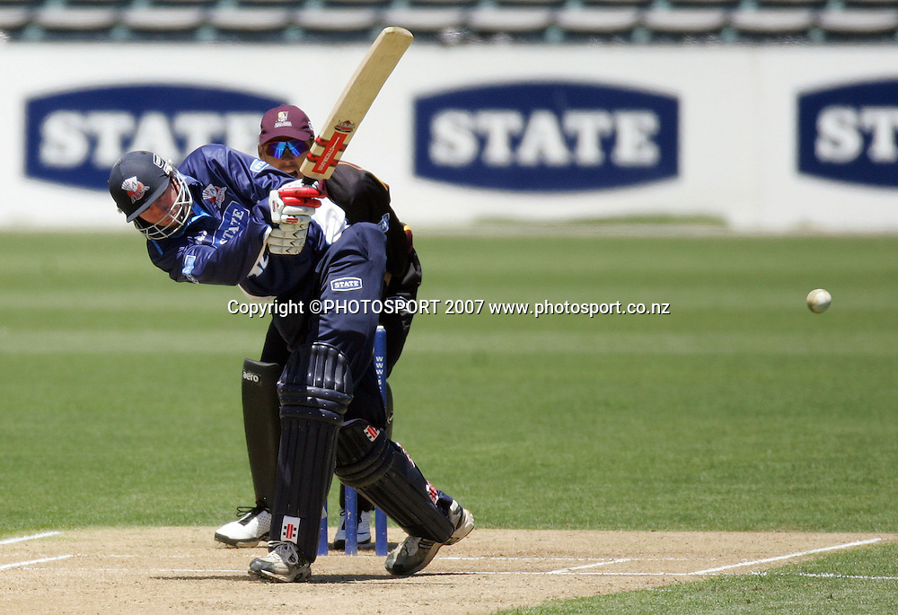 Auckland's Richard Jones in action. State Auckland Aces v State Northern Knights. State Shield Cricket. Eden Park Outer Oval, Auckland, New Zealand. Sunday 30 December 2007. Photo: Hagen Hopkins/PHOTOSPORT