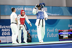 BUENOS AIRES, Oct. 12, 2018  Mohammadali Khosrarvi (R) of Iran reacts after winning the men's +73kg final of taekwondo event against Lee Meng-En of Chinese Taipei at the 2018 Summer Youth Olympic Games in Buenos Aires, Argentina on Oct. 11, 2018. Mohammadali Khosrarvi won 2-1. (Credit Image: © Li Ming/Xinhua via ZUMA Wire)