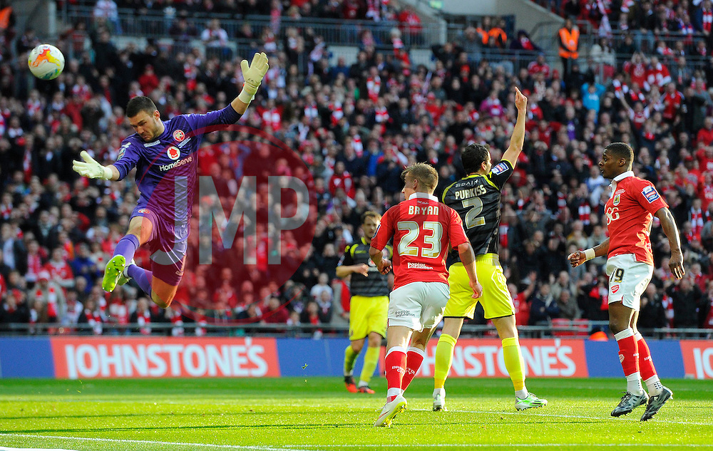 Bristol City's Joe Bryan sees his header ruled out  - Photo mandatory by-line: Joe Meredith/JMP - Mobile: 07966 386802 - 22/03/2015 - SPORT - Football - London - Wembley Stadium - Bristol City v Walsall - Johnstone Paint Trophy Final