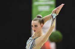 July 28, 2018 - Chieti, Abruzzo, Italy - Junior Rhythmic gymnast Emeli Erbes of Germany performs her hoop routine during the Rhythmic Gymnastics pre World Championship Italy-Ukraine-Germany at Palatricalle on 29th of July 2018 in Chieti Italy. (Credit Image: © Franco Romano/NurPhoto via ZUMA Press)