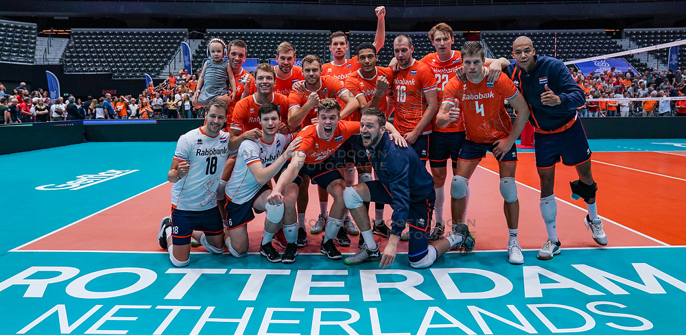 09-08-2019 NED: FIVB Tokyo Volleyball Qualification 2019 / Netherlands, - Korea, Rotterdam<br /> First match pool B in hall Ahoy between Netherlands - Korea (3-2) for one Olympic ticket / Team NL, Netherlands celebrate