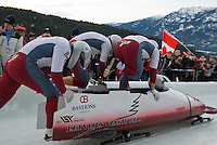The Latvian team of Edgars Maskalans, Ainars Podnieks, Raivis Broks and Reinis Rozitis compete in the Mens' four-person bobsleigh World Cup competition held at the Whistler Sliding Centre on Feb 7, 2009
