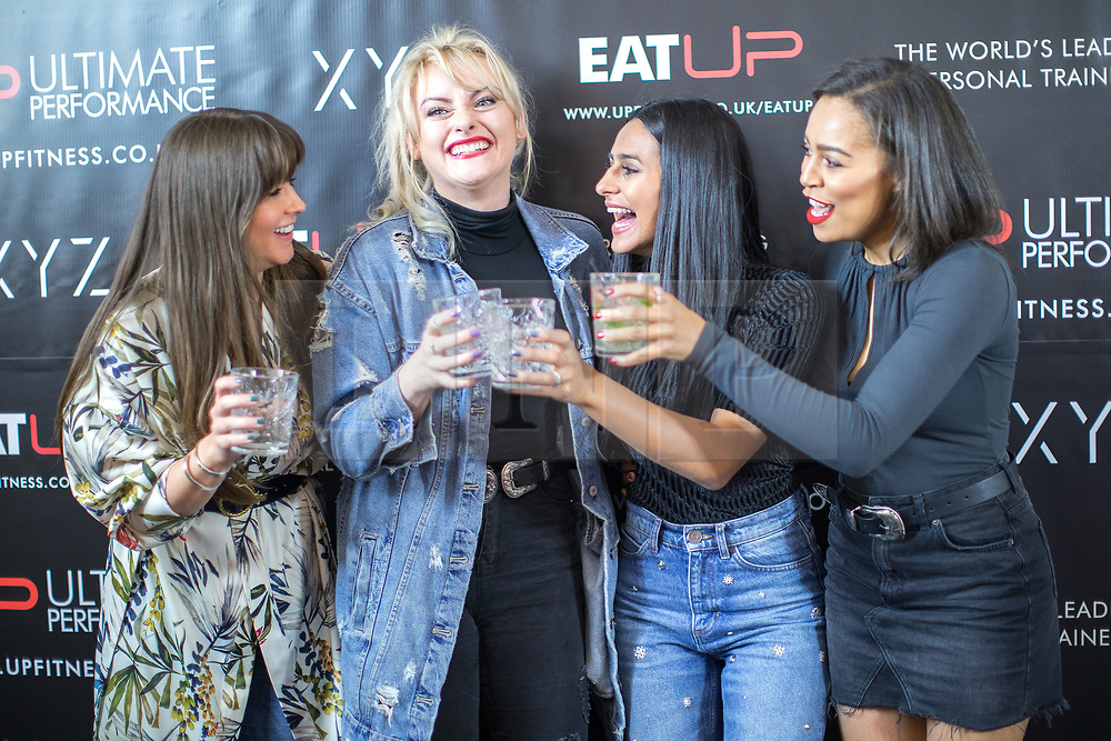 © Licensed to London News Pictures . 31/07/2017 . Manchester , UK . Coronation Street actors Brooke Vincent , Katie McGlynn , Sair Khan and Tisha Merry at the opening event for Up Gym in Spinningfields . Photo credit : Joel Goodman/LNP