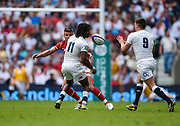 England's Marland Yarde flicks a pass back inside to Ben youngs during the The Old Mutual Wealth Cup match England -V- Wales at Twickenham Stadium, London, Greater London, England on Sunday, May 29, 2016. (Steve Flynn/Image of Sport)