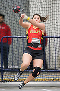Windsor, Ontario ---2015-03-12--- Sarah Dougherty of Guelph    competes in the weight throw at the 2015 CIS Track and Field Championships in Windsor, Ontario, March 12, 2015.<br /> GEOFF ROBINS/ Mundo Sport Images