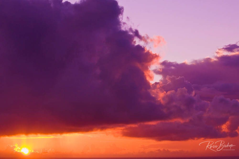 Clouds over the Pacific Ocean at sunset, Island of Kauai, Hawaii