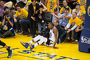 Golden State Warriors forward Kevin Durant (35) falls to the floor after a lay up attempt against the Utah Jazz during Game 1 of the Western Conference Semifinals at Oracle Arena in Oakland, Calif., on May 2, 2017. (Stan Olszewski/Special to S.F. Examiner)