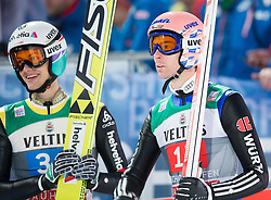 06.01.2015, Paul Ausserleitner Schanze, Bischofshofen, AUT, FIS Ski Sprung Weltcup, 63. Vierschanzentournee, Finale, im Bild Gregor Deschwanden (SUI), Michael Neumayer (GER) // Gregor Deschwanden of Switzerland, Michael Neumayer of Germany reacts after his first Jump of 63rd Four Hills Tournament of FIS Ski Jumping World Cup at the Paul Ausserleitner Schanze, Bischofshofen, Austria on 2015/01/06. EXPA Pictures © 2015, PhotoCredit: EXPA/ Johann Groder