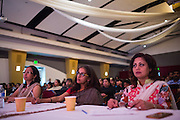 Judges Bindu Shankar, Renoo Nathan, and Sangeeta Mehra watch and make notes on performances during the ICC Youthsava 2016 Dance Competition at the India Community Center in Milpitas, California, on April 9, 2016. (Stan Olszewski/SOSKIphoto)