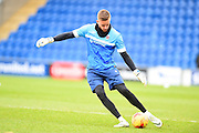 Hartlepool backup goalkeeper Ben Dudzinski warms up during the EFL Sky Bet League 2 match between Colchester United and Hartlepool United at the Weston Homes Community Stadium, Colchester, England on 25 February 2017. Photo by Ian  Muir.