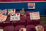 A lone delegate waiting for the RNC to begin..RNC, Madison Square Garden, NYC, NY USA.9/1/04.