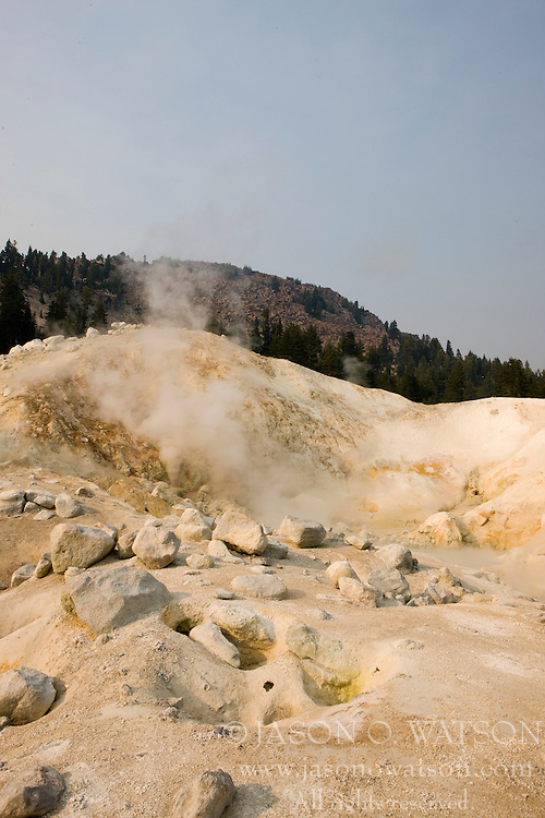 Steam rises from the ground at Bumpass Hell, the largest hydrothermal area in Lassen Volcanic National Park, California, USA.