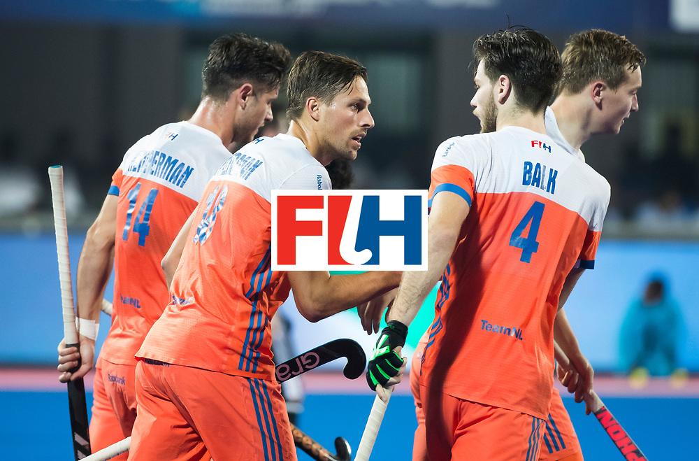 BHUBANESWAR - Bjorn Kellerman (Ned) heeft gescoord  tijdens de Hockey World League Finals , de kwartfinale wedstrijd Duitsland-Nederland (3-3).Duitsland wint na shoot-outs.    COPYRIGHT KOEN SUYK