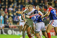 George Burgess  of England and Valentin Yess and Lambert Belmas of France during the International Friendly match at Leigh Sports Village, Leigh<br /> Picture by Steve McCormick/Focus Images Ltd 07545 862647<br /> 17/10/2018