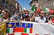 ROME, ITALY – MAY 21: Anti fascist organisations march to protest against a demonstration of Italian far-right political movement CasaPound Italy on May 21, 2016 in Rome, Italy. (Photo by Stefano Montesi/Corbis via Getty Images)