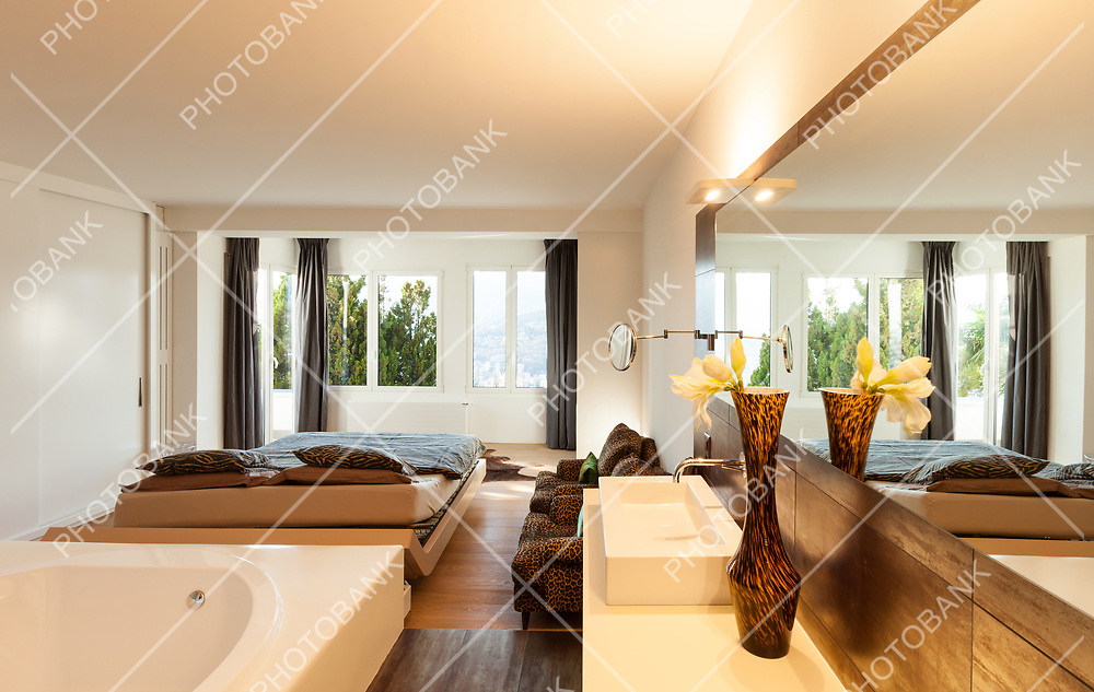 Architecture, interiors of a modern house, bedroom