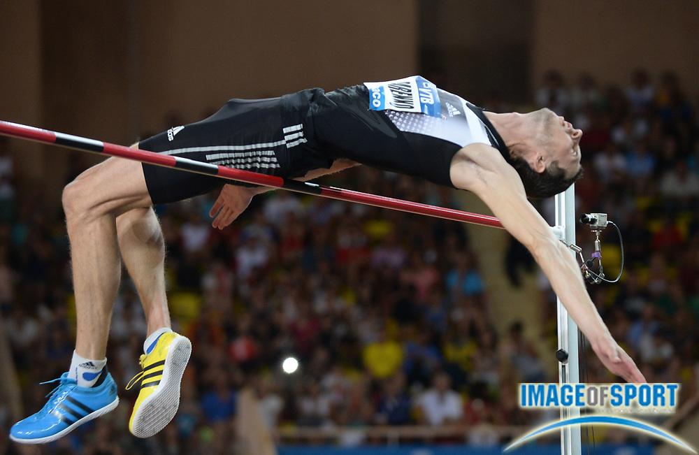 Jul 18, 2014; Fontvieille, MONACO; Bohdan Bondarenko (UKR) wins the high jump in a meet-record 7-10 1/2 (2.40m) in the 2014 Herculis Monaco meeting at Stade Louis II stadium. Photo by Jiro Mochizuki