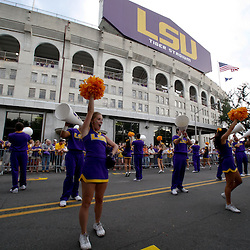 Sep 25, 2010; Baton Rouge, LA, USA; LSU Tigers cheerleaders perform outside for fans prior to a game between the LSU Tigers and the West Virginia Mountaineers at Tiger Stadium.  Mandatory Credit: Derick E. Hingle