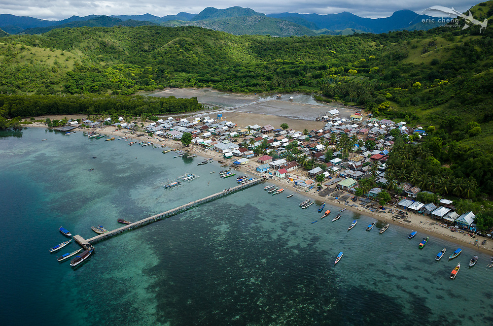 Aerial view of the village Kampung Rinca in Komodo, Indonesia.