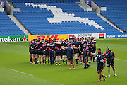 USA players have a team huddle during the USA Captain's Run in preparation for the Rugby World Cup at the American Express Community Stadium, Brighton and Hove, England on 18 September 2015.