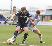 Dundee's Thomas Konrad gets to grips with Ross County's Craig Curran- Ross County v Dundee, SPFL Premiership at The Global Energy Stadium<br /> <br />  - &copy; David Young - www.davidyoungphoto.co.uk - email: davidyoungphoto@gmail.com