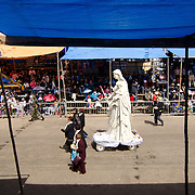 A statue of Mary and Jesus at Carnival in Oruro.