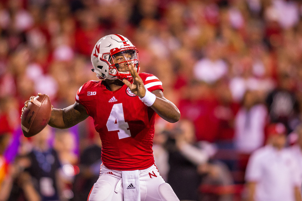 September 12, 2015: Tommy Armstrong Jr. #4 of the Nebraska Cornhuskers drops back to pass against the South Alabama Jaguars at Memorial Stadium in Lincoln, Nebraska. Nebraska 48 South Alabama 9.