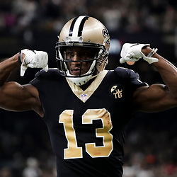 Jan 13, 2019; New Orleans, LA, USA; New Orleans Saints wide receiver Michael Thomas (13) reacts after a fist down against the Philadelphia Eagles during the second quarter of a NFC Divisional playoff football game at Mercedes-Benz Superdome. Mandatory Credit: Derick E. Hingle-USA TODAY Sports