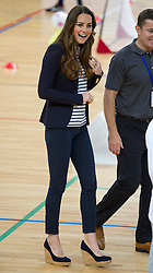The Duchess of Cambridge taking part in a volleyball session during a SportsAid Athlete Workshop at the Copper Box, in the Queen Elizabeth Olympic Park in London, United Kingdom,  Friday, 18th October 2013. Picture by i-Images
