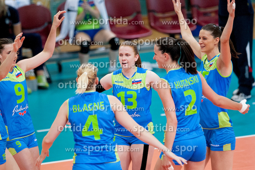Players of Slovenia during volleyball match between National Teams of Slovenia and Azerbaijan of 2014 CEV Volleyball European League Women - Pool A, on July 5, 2014, in Arena Ljudski vrt Lukna, Maribor, Slovenia, Slovenia. Photo by Urban Urbanc / Sportida