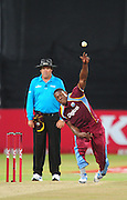 Sheldon Cottrell , West Indies  during the 2015 KFC T20 International Series cricket match between South Africa and West Indies at the Kingsmead Stadium in Durban on the 14th of January 2015<br /> <br /> ©Sabelo Mngoma/BackpagePix