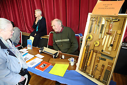 Display of traditional bookbinding tools at Lowdham Book Festival Notts
