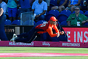 Jason Roy of England drops Virat Kohli (captain) of India during the International T20 match between England and India at the SWALEC Stadium, Cardiff, United Kingdom on 6 July 2018. Picture by Graham Hunt.