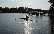 Shawn sculling on Lake Norman. photo © Laura Mueller 2010