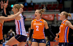 18-05-2016 JAP: OKT Nederland - Dominicaanse Republiek, Tokio<br /> Nederland is weer een stap dichterbij kwalificatie voor de Olympische Spelen. Dit dankzij een 3-0 overwinning op de Dominicaanse Republiek / Debby Stam-Pilon #16, Femke Stoltenborg #2, Judith Pietersen #8
