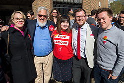 © Licensed to London News Pictures. 03/05/2018. London, UK. (L-R) Stand up comedian and Labour NEC member EDDIE IZZARD, Labour activist JON LANSMAN, Political Director of Unite the Union ANNALIESE MIDGLEY, Labour's parliamentary candidate for the Cities of London & Westminster STEVEN SAXBY and Journalist and Labour activist OWEN JONES pose for a photo outside Pimlico Tube Station as part of 'Unseat Westminster Tory Council'. The gathering was arranged to round up volunteers to speak to Westminster residents who said they would vote for labour. Photo credit : Tom Nicholson/LNP