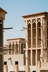 Traditional historical architecture in Al Bastakiya historical district in Bur Dubai United Arab Emirates