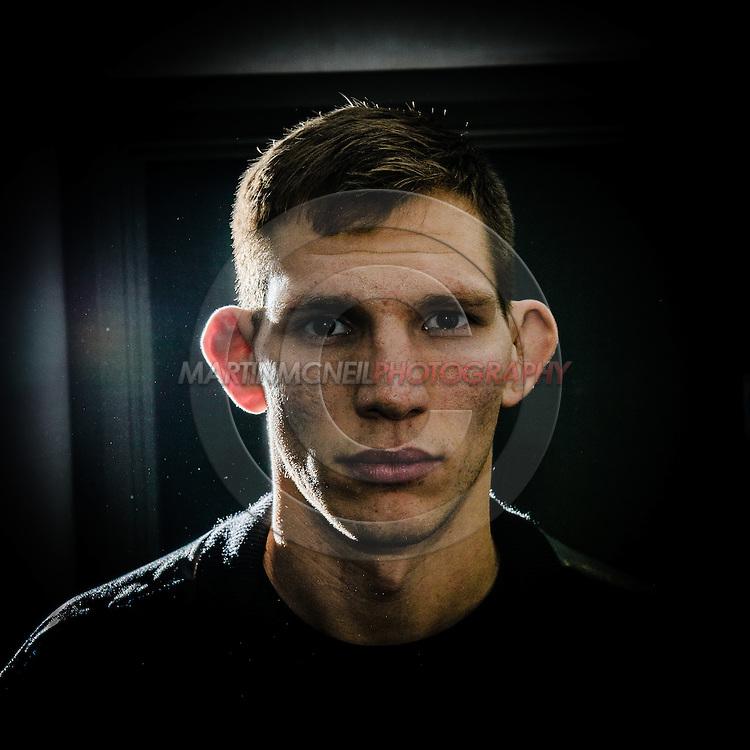 "MANCHESTER, ENGLAND, NOVEMBER 24, 2013: Luke Barnatt poses for a portrait ahead of ""UFC Fight Night 30: Machida vs. Munoz"" inside the Crowne Plaza Hotel in Manchester, England (Martin McNeil for ESPN)"