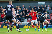 Goal Jerry Yates of Swindon Town scores a goal to make it 0-2 during the EFL Sky Bet League 2 match between Grimsby Town FC and Swindon Town at Blundell Park, Grimsby, United Kingdom on 7 December 2019.