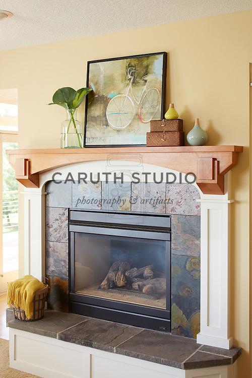 How to Style a Mantel: Styled mantel with black firebox
