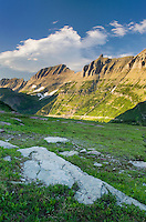 Alpine meadows at Logan Pass with the Garden Wall and Bishop's Cap in the distance, Glacier National Park Montana USA