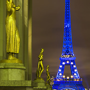 Paris (France). View of the Eiffel Tower at night taken from the Trocadéro