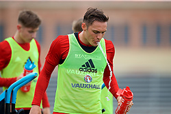 LOS ANGELES, USA - Wednesday, May 23, 2018: Wales' Connor Roberts drinks water during a training session at UCLA ahead of the International friendly match against Mexico. (Pic by David Rawcliffe/Propaganda)