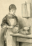 Home cooking.  A woman using a whisk.  Engraving 1885