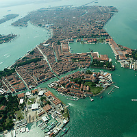 VENICE, ITALY - JULY 07:   A general view of the Venice from Castello and San Pietro area seen during the Seawing  tour above Venice on July 7, 2011 in Venice, Italy. Seawings has started a new tour of Venice by seaplane, offering aerial views of the Venetian Lagoon and its historic islands, continuing a long history of seaplanes in Venice.